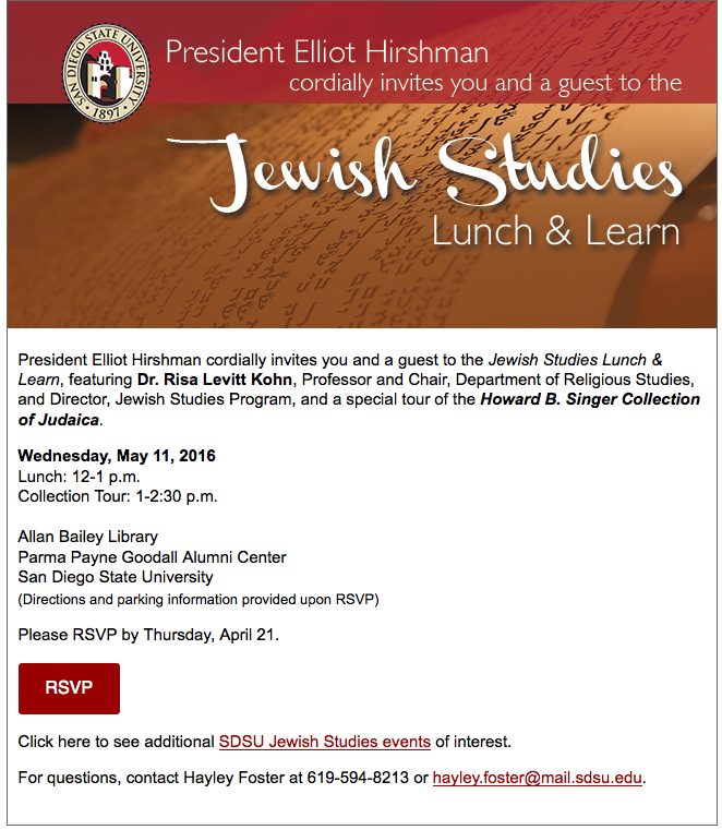Email Invitation SDSU Jewish Studies Lunch and Learn Krista Nielsen